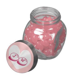 Monogrammed wedding candy jar   pink heart lid