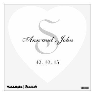 Monogrammed Wedding Heart Wall Decal