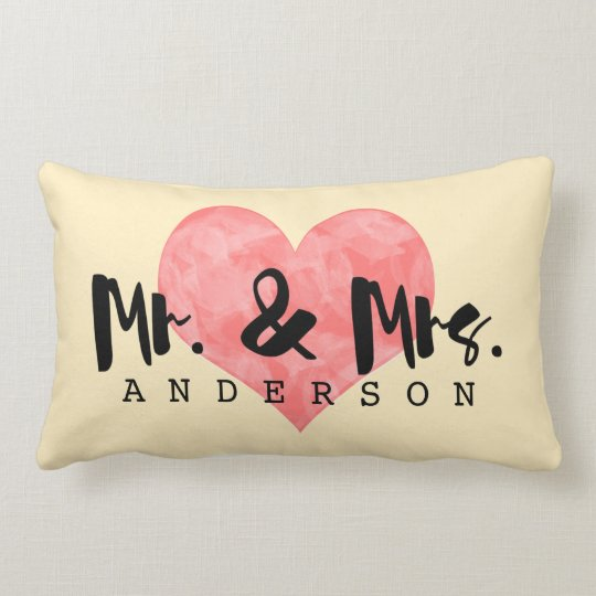 Monogrammed Wedding Pink and Cream - Heart Pillow