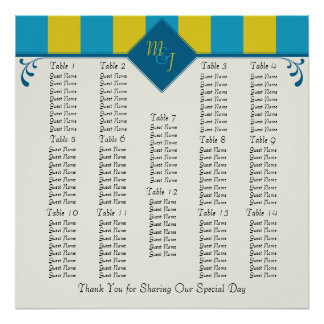 Monogrammed Wedding Reception Seating Chart Poster