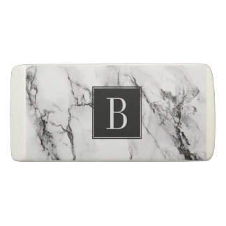 Monogrammed White And Black Marble Stone Eraser