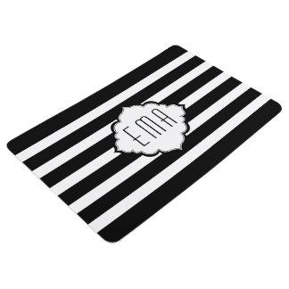 Monogrammed White And Black Stripes Floor Mat