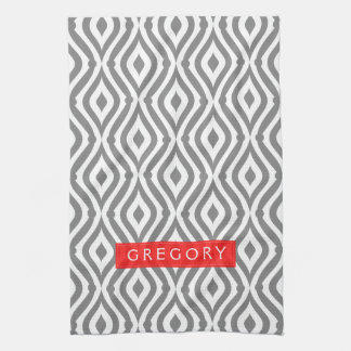 Monogrammed White And Gray Geometric Pattern Kitchen Towel