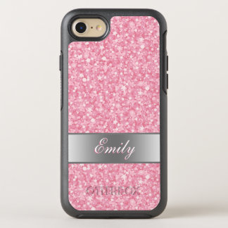 Monogrammed White And Pink Glitter OtterBox Symmetry iPhone 8/7 Case