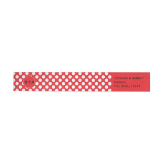 Monogrammed White and Red Polka Dot Wedding Wrap Around Label