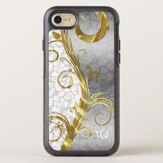 Monogrammed White And Silver Gray Damask OtterBox Symmetry iPhone 7 Case