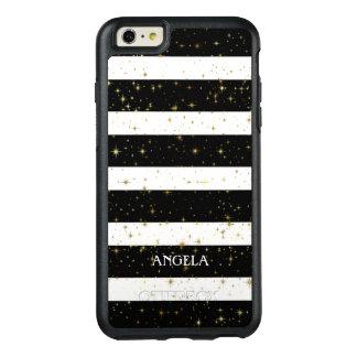 Monogrammed White Black Stripes Gold Sparks OtterBox iPhone 6/6s Plus Case
