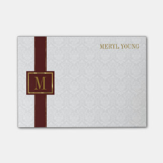 Monogrammed White Damask Post-it Notes