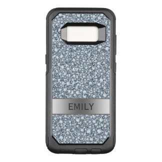 Monogrammed White Encrusted Diamonds Glitter OtterBox Commuter Samsung Galaxy S8 Case
