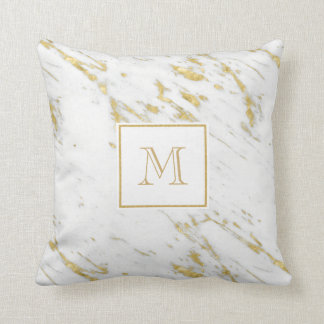 Monogrammed White Marble Stone With Gold Glitter Throw Pillow