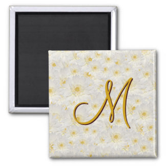 Monogrammed White Mums Magnet