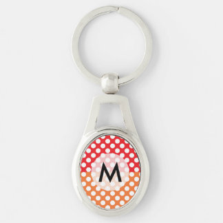 Monogrammed White, Red and Orange Polka Dot Silver-Colored Oval Keychain
