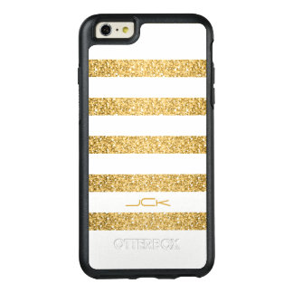 Monogrammed White Stripes And Gold Glitter OtterBox iPhone 6/6s Plus Case