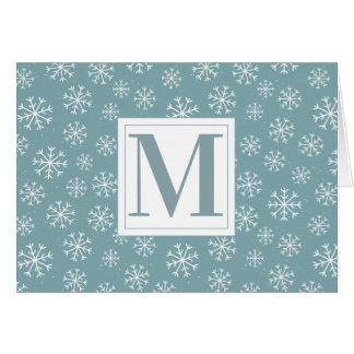 Monogrammed Winter Snowflakes Card