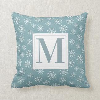 Monogrammed Winter Snowflakes Throw Pillow
