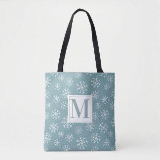 Monogrammed Winter Snowflakes Tote Bag