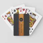 monogrammed wood colour stripe on black playing cards