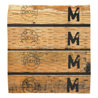 "Monogrammed Wood Planks Stamped w ""Made in USA"" Bandana"