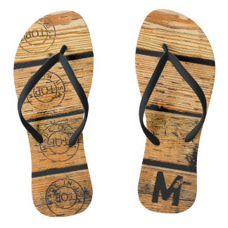 "Monogrammed Wood Planks Stamped w ""Made in USA"" Flip Flops"
