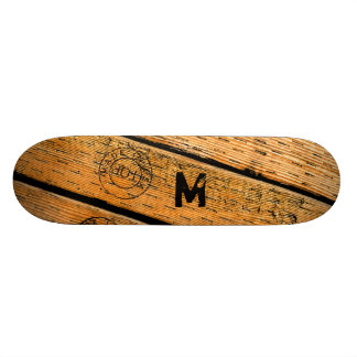 """Monogrammed Wood Planks Stamped w """"Made in USA"""" Skateboards"""