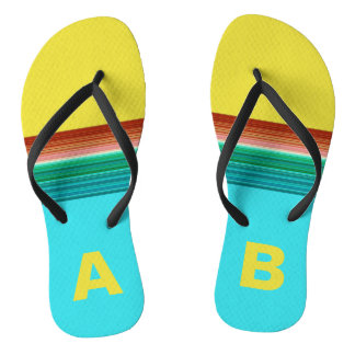 Monogrammed Yellow Blue Multicolor Striped Pattern Flip Flops