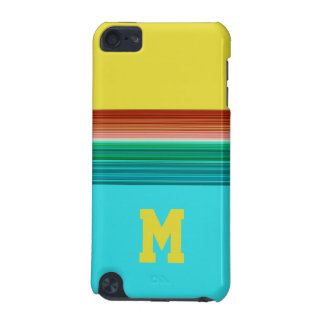 Monogrammed Yellow Blue Multicolor Striped Pattern iPod Touch (5th Generation) Covers