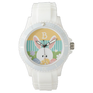 Monogrammed Yellow Easter Bunny Watch