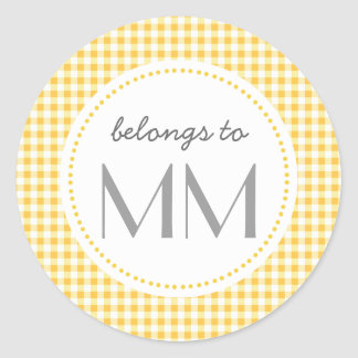 Monogrammed Yellow Gingham - DIY Tags Round Sticker