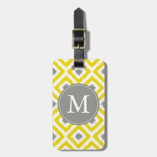 Monogrammed Yellow Gray Diamonds Ikat Pattern Luggage Tag