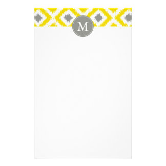 Monogrammed Yellow Gray Diamonds Ikat Pattern Stationery