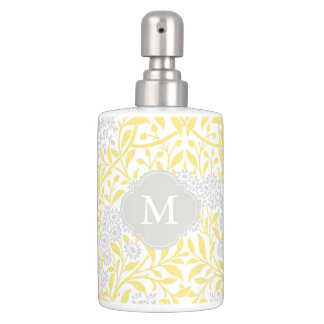Monogrammed Yellow Gray Floral Damask Pattern Soap Dispenser And Toothbrush Holder