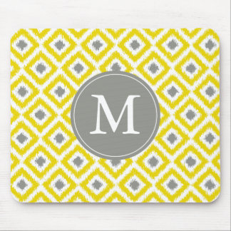 Monogrammed Yellow Gray Ikat Pattern Mouse Pad