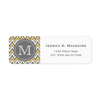 Monogrammed Yellow & Grey Chevron Return Address Label