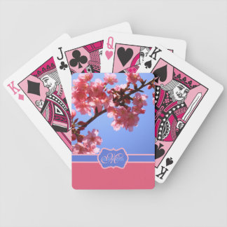 Monogrammed Yokohama Sakura Pink Cherry Blossoms Bicycle Playing Cards