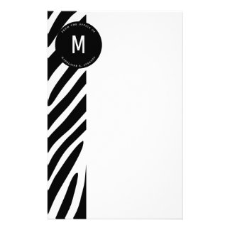Monogrammed Zebra Border from the Office Customized Stationery