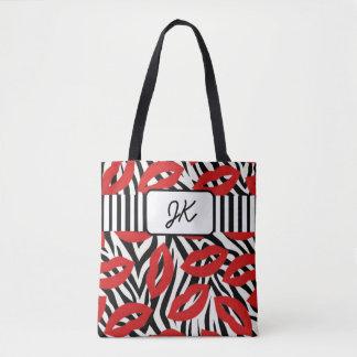 Monogrammed Zebra Striped Red Lips Tote Bag