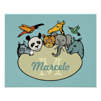 monogrammed zoo animals posters