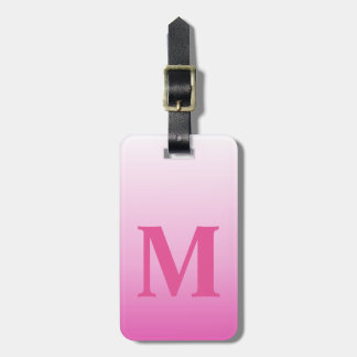 monograms blush pink magenta cherry blossom pink luggage tag