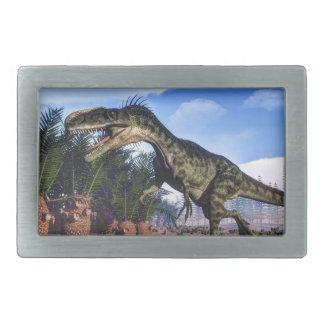 Monolophosaurus dinosaur - 3D render Rectangular Belt Buckle