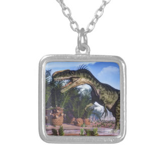 Monolophosaurus dinosaur - 3D render Silver Plated Necklace