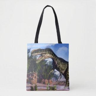 Monolophosaurus dinosaur - 3D render Tote Bag