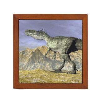 Monolophosaurus dinosaur in the desert - 3D render Desk Organizer