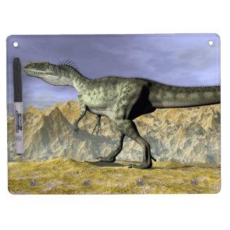 Monolophosaurus dinosaur in the desert - 3D render Dry Erase Board With Keychain Holder