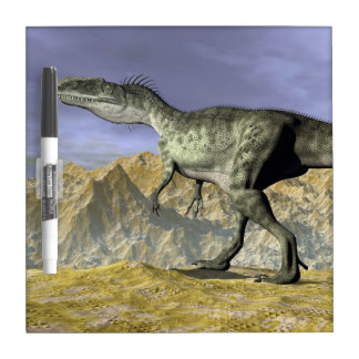 Monolophosaurus dinosaur in the desert - 3D render Dry Erase Whiteboards
