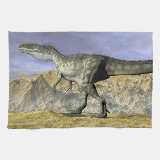 Monolophosaurus dinosaur in the desert - 3D render Kitchen Towel