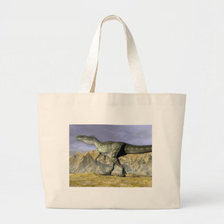 Monolophosaurus dinosaur in the desert - 3D render Large Tote Bag