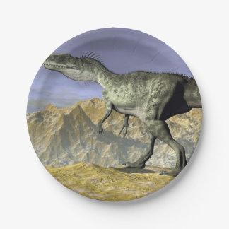 Monolophosaurus dinosaur in the desert - 3D render Paper Plate