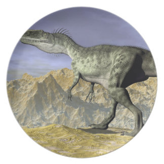 Monolophosaurus dinosaur in the desert - 3D render Party Plates