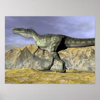 Monolophosaurus dinosaur in the desert - 3D render Poster