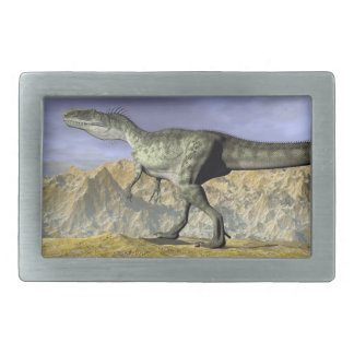 Monolophosaurus dinosaur in the desert - 3D render Rectangular Belt Buckles
